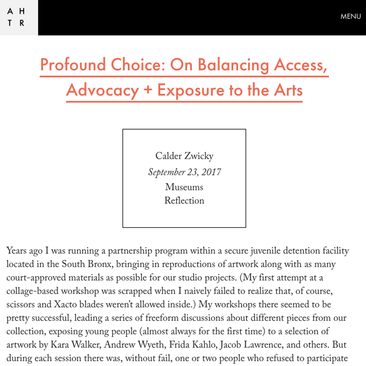 Profound Choice: On Balancing Access, Advocacy + Exposure to the Arts