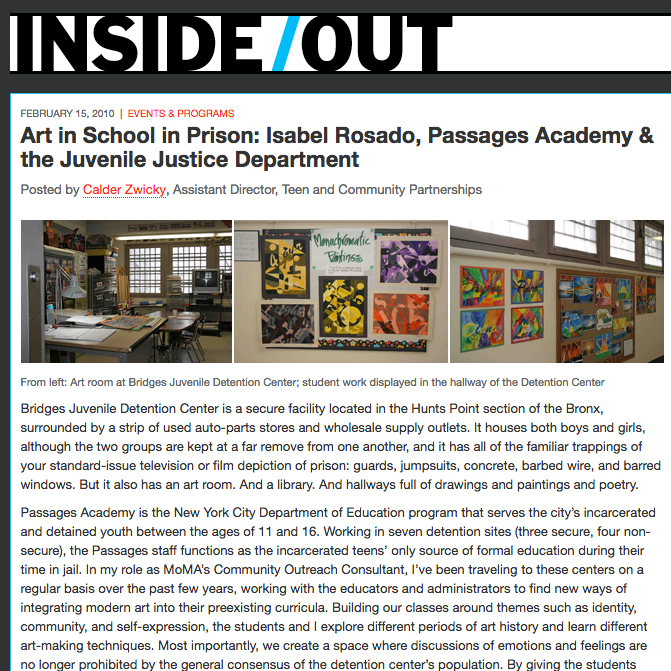 Art in School in Prison: Isabel Rosado, Passages Academy & the Juvenile Justice Department
