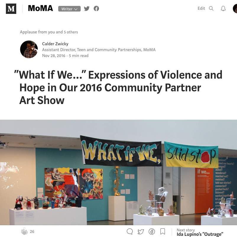 """""""What If We..."""" Expressions of Violence and Hope in Our 2016 Community Partner Art Show"""