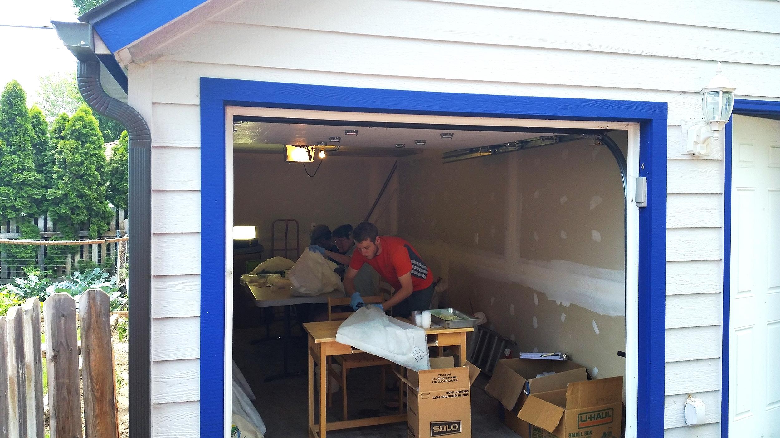 Our makeshift workshop/ sauna