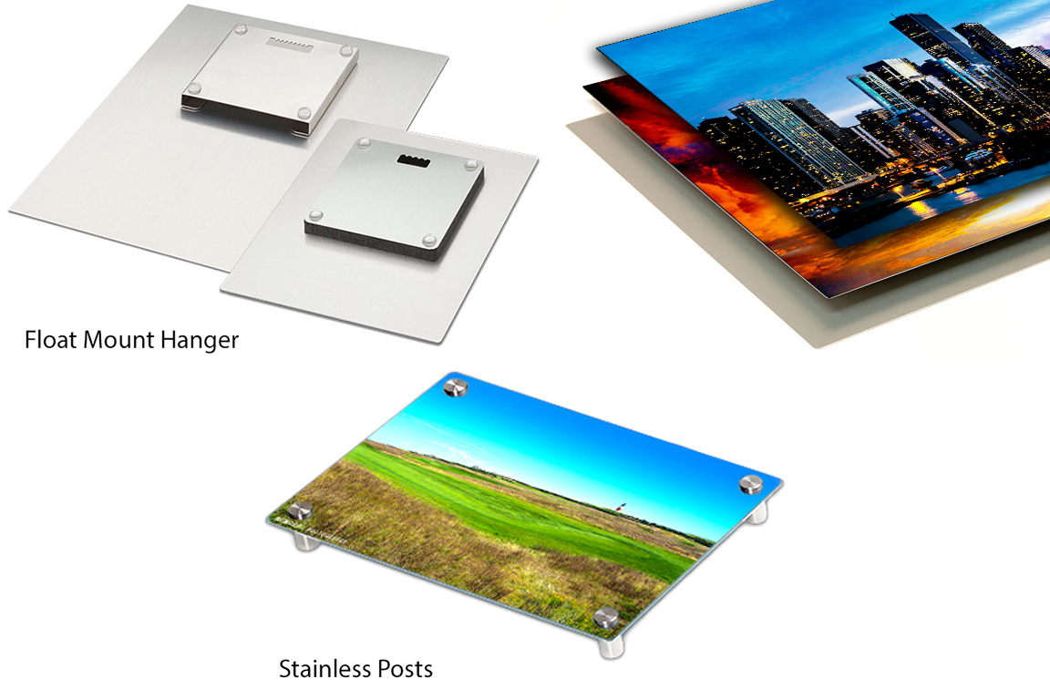 Float Mount Hanger, Stainless Posts, Aluminum Sheets