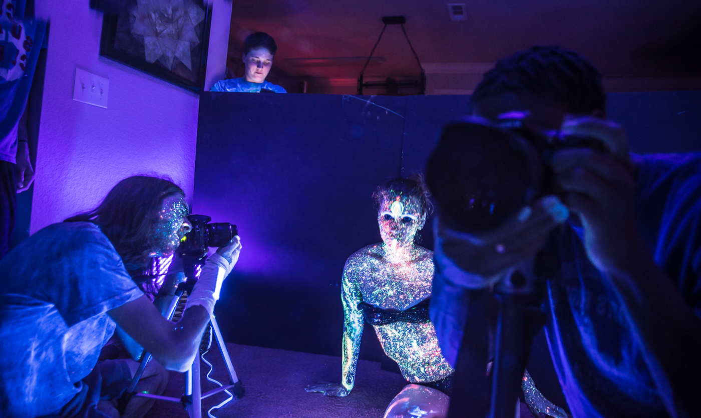 Capturing a shot in the mirror of Kai shooting Sirena....#LiveActionShot