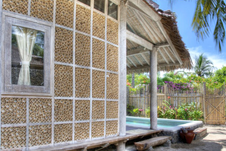 Wall in bamboo in Gili Trawangan