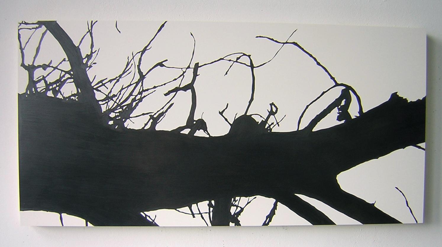 "NightFall , 2004 Pencil on clayboard panel 16"" x 32"" SOLD"