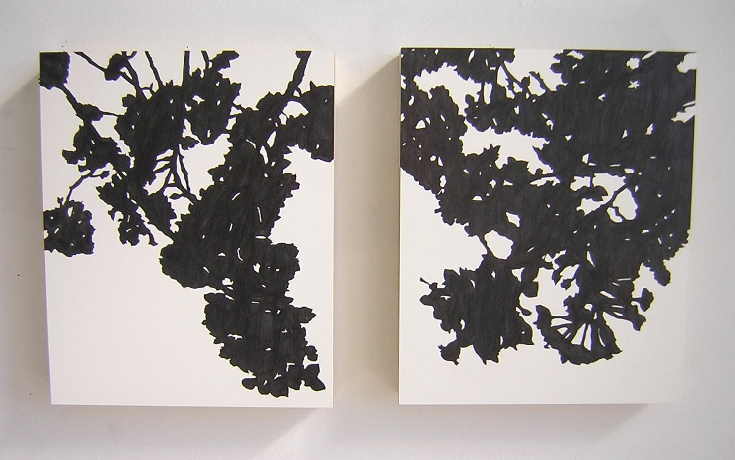 "Yaekazura , 2006 Pencil on clayboard panel 14"" x 12"" each SOLD"