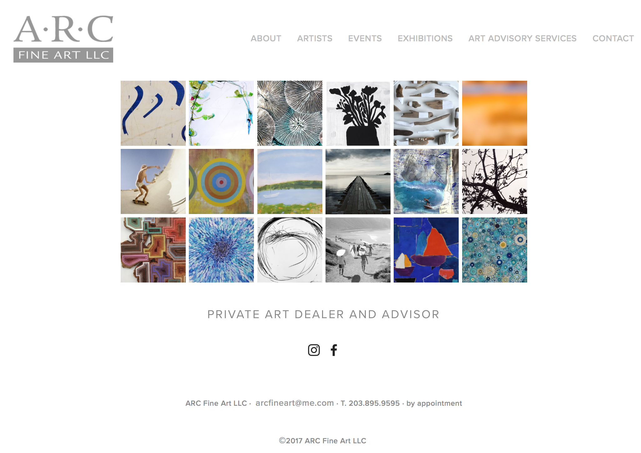 ARC Fine Art Website design and production  All printed material design and production