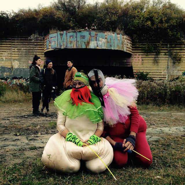 Kelly Nesbitt left, Eric Rubin right as bouffons at Sacred & Profane, 2015 (during a return visit to Maine)