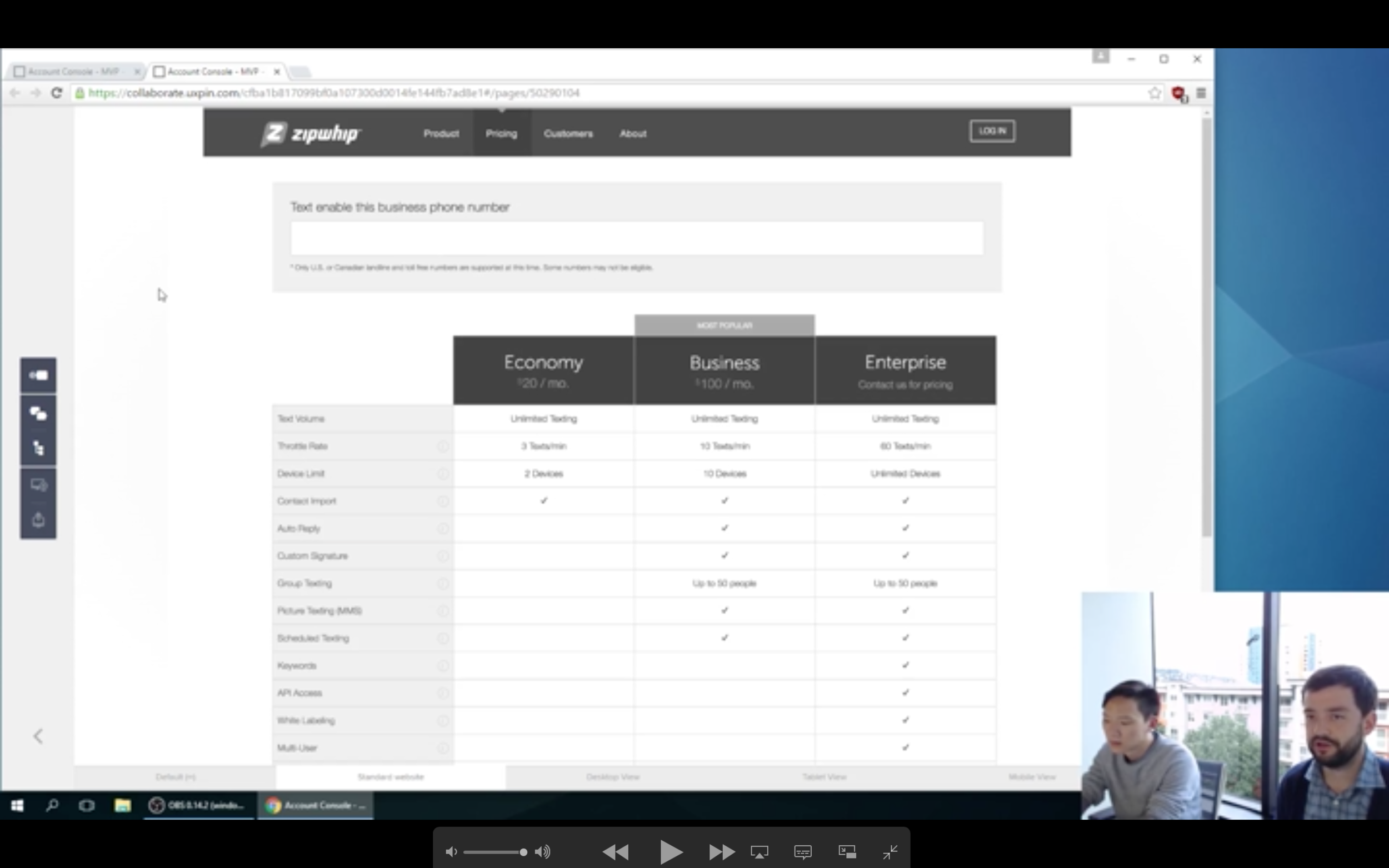 Screenshot of Bradley (left) facilitating an in-person, moderated usability test session with Tom (right).