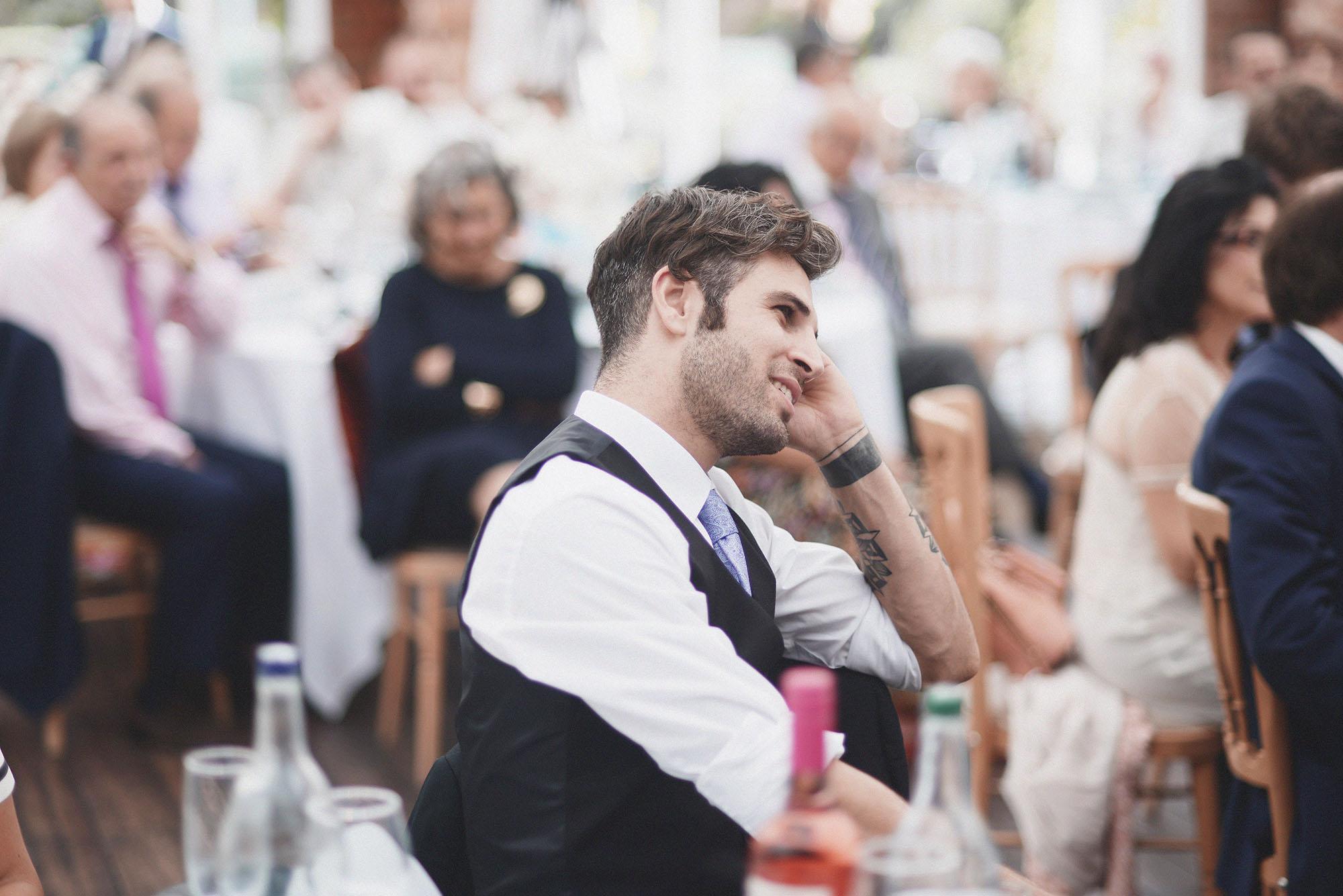 Guest during an emotional wedding speech, London