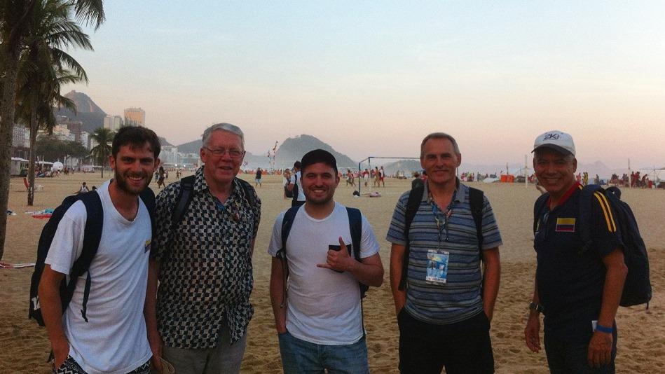 The Destination Rio team on Copacabana beach!