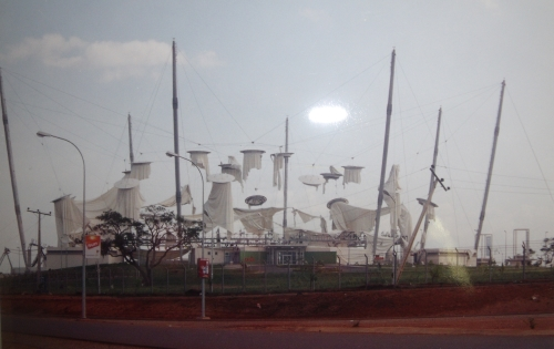 A storm leaves the Velodrome roof in tatters at the All Africa Games in 2003.