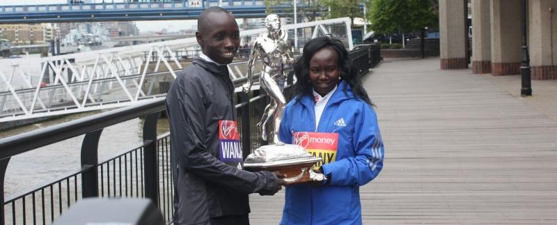 London Marathon 2017 elite men's and women's winners Daniel Wanjiru ( above left ) and Mary Keitany ( above right ) from Kenya.