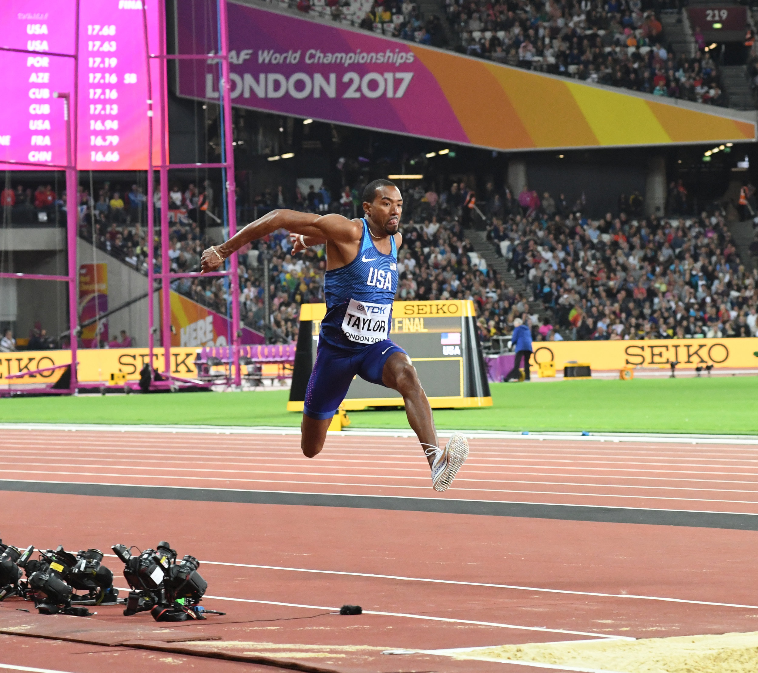 US Triple Jump world champion leaps through the air at the Queen Elizabeth Olympic Park in London (Photo: Enigma Sports)