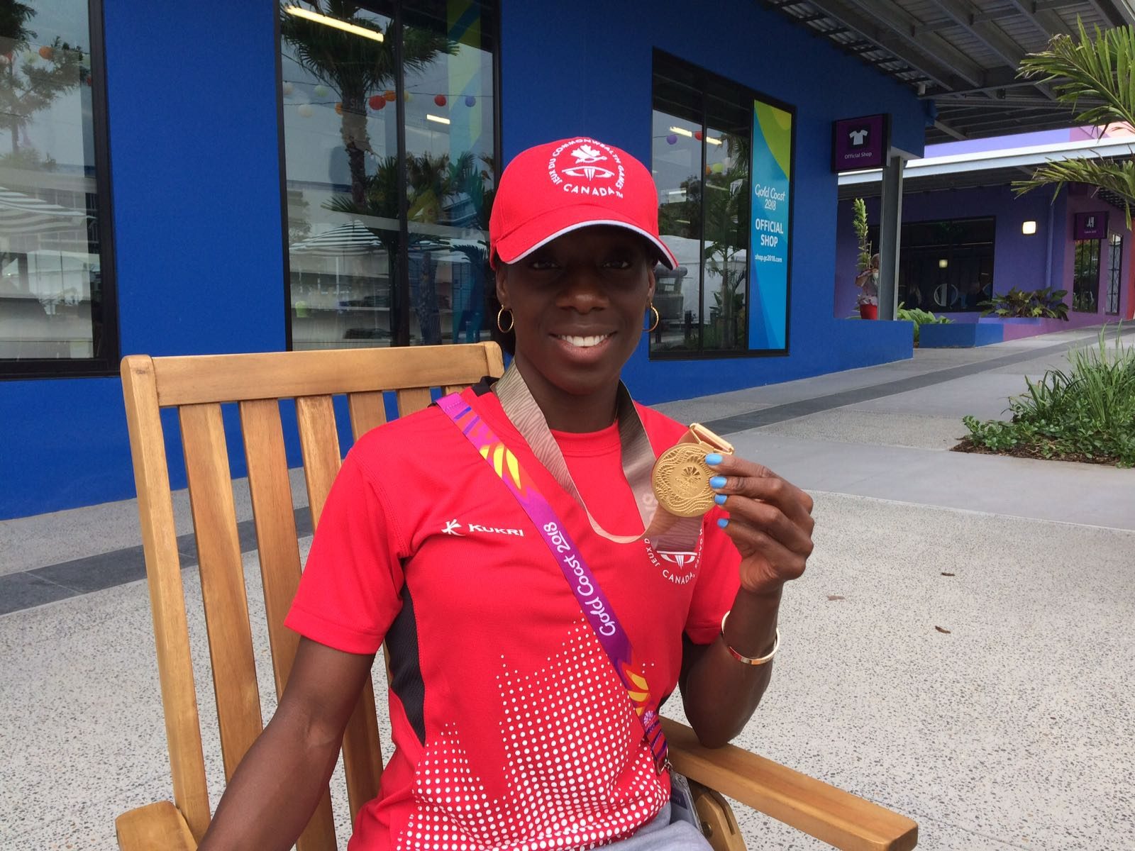 Christabel Nettey (Canada) showing off her Gold medal on the Gold Coast!