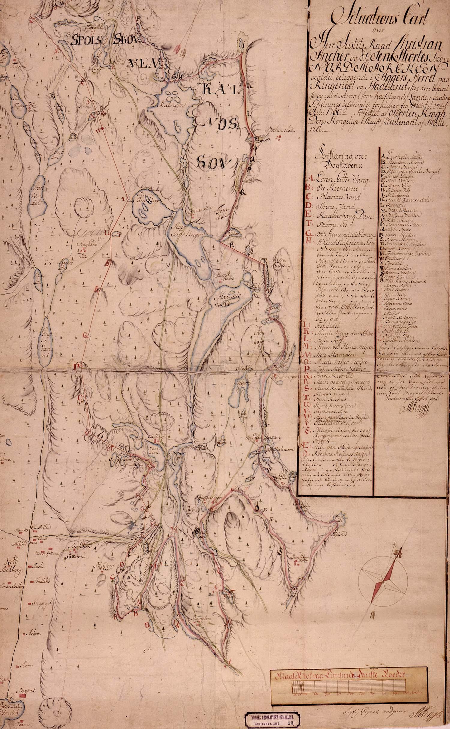Situasjonskart fra 1760. Dette er det eldste kjente Nordmarkskartet.