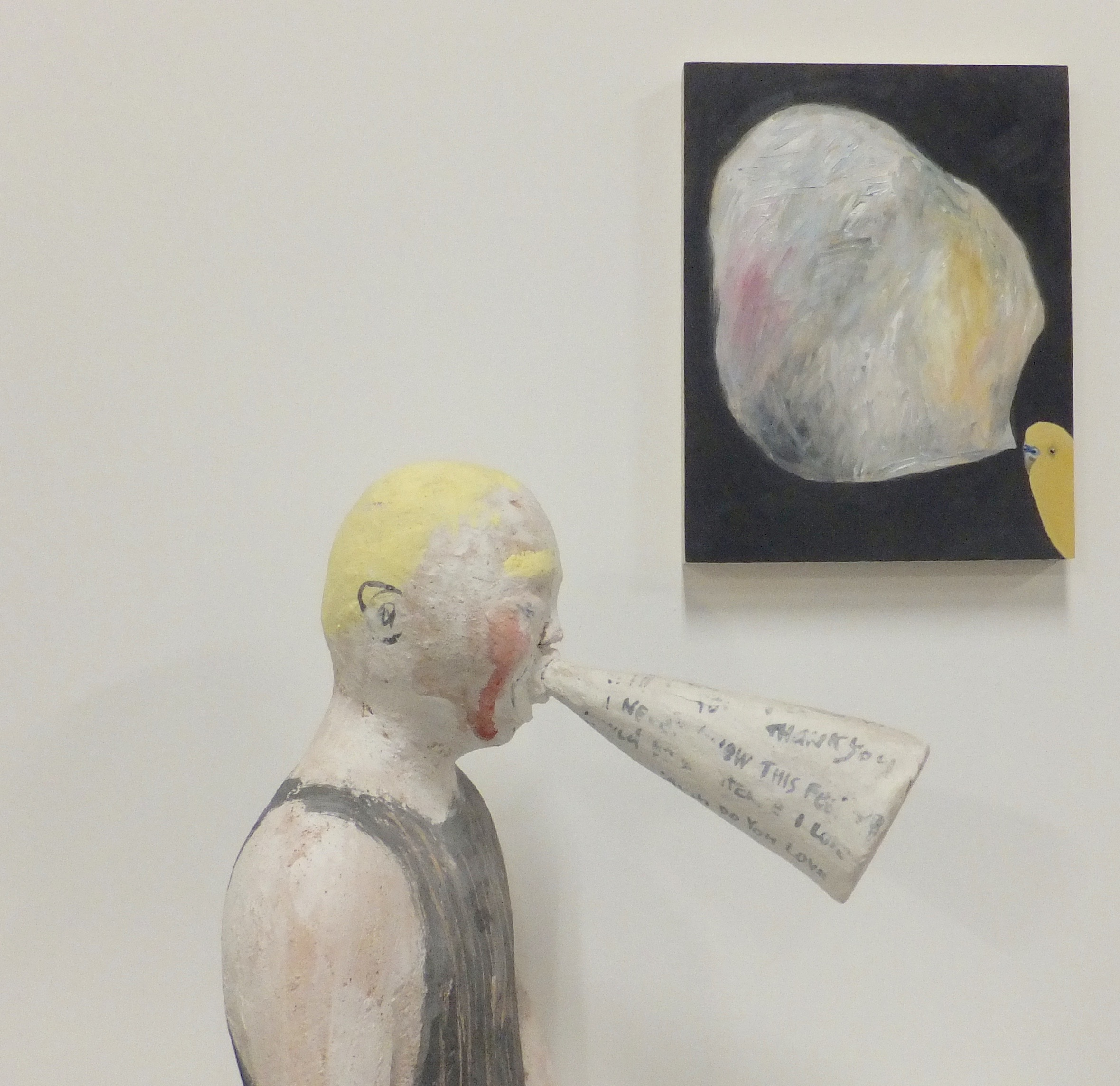 Installation view,  A Quiet Conversation , 2016, oil on board, 20cm x 20cm, and  Telling You Everything,  2015,   clay, porcelain slip, underglaze, 33 cm x 30cm x 26cm