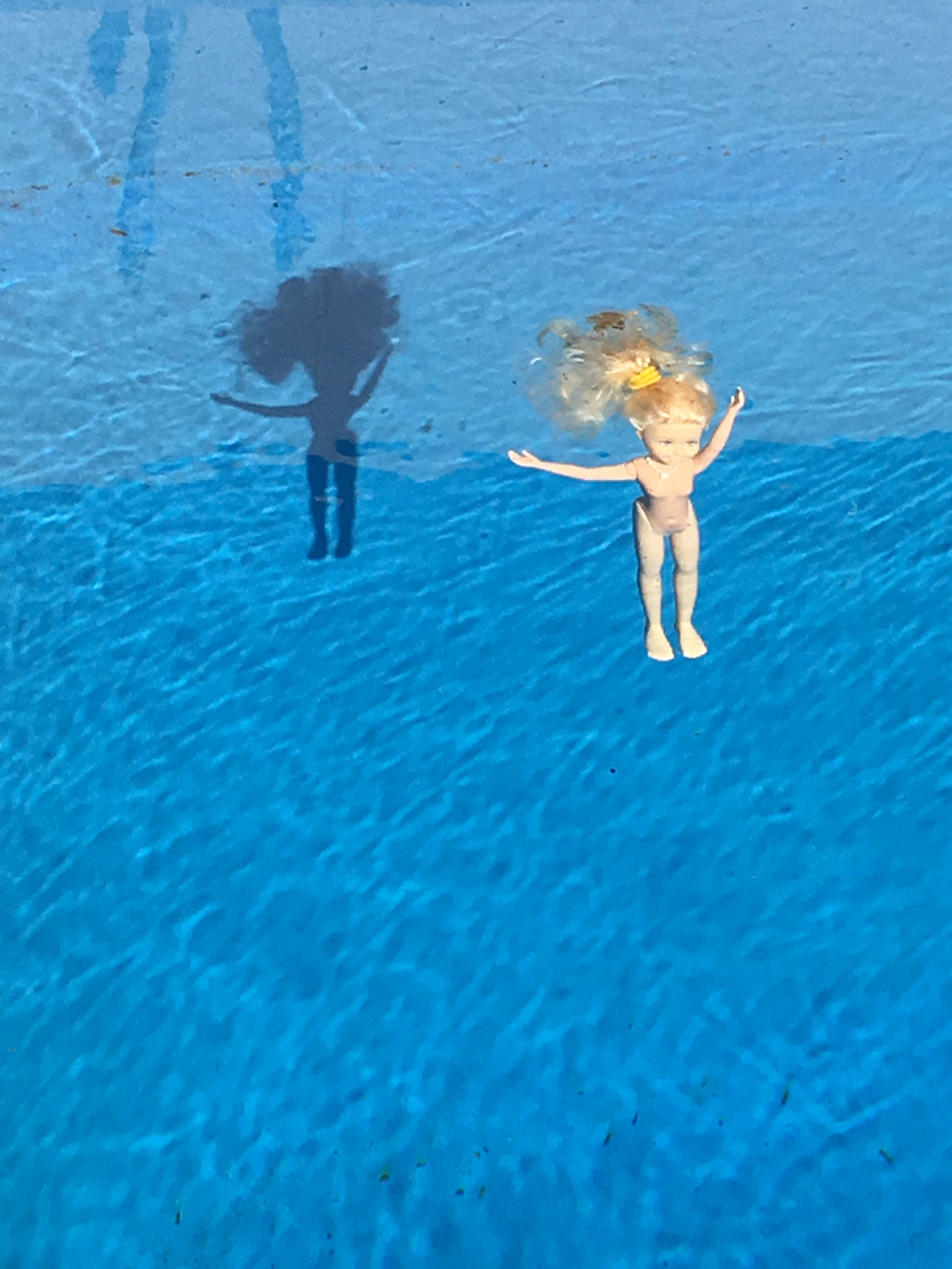 Come on Barbie Let's Go Party 2016  , detail, 40 Barbies in suburban swimming pool.
