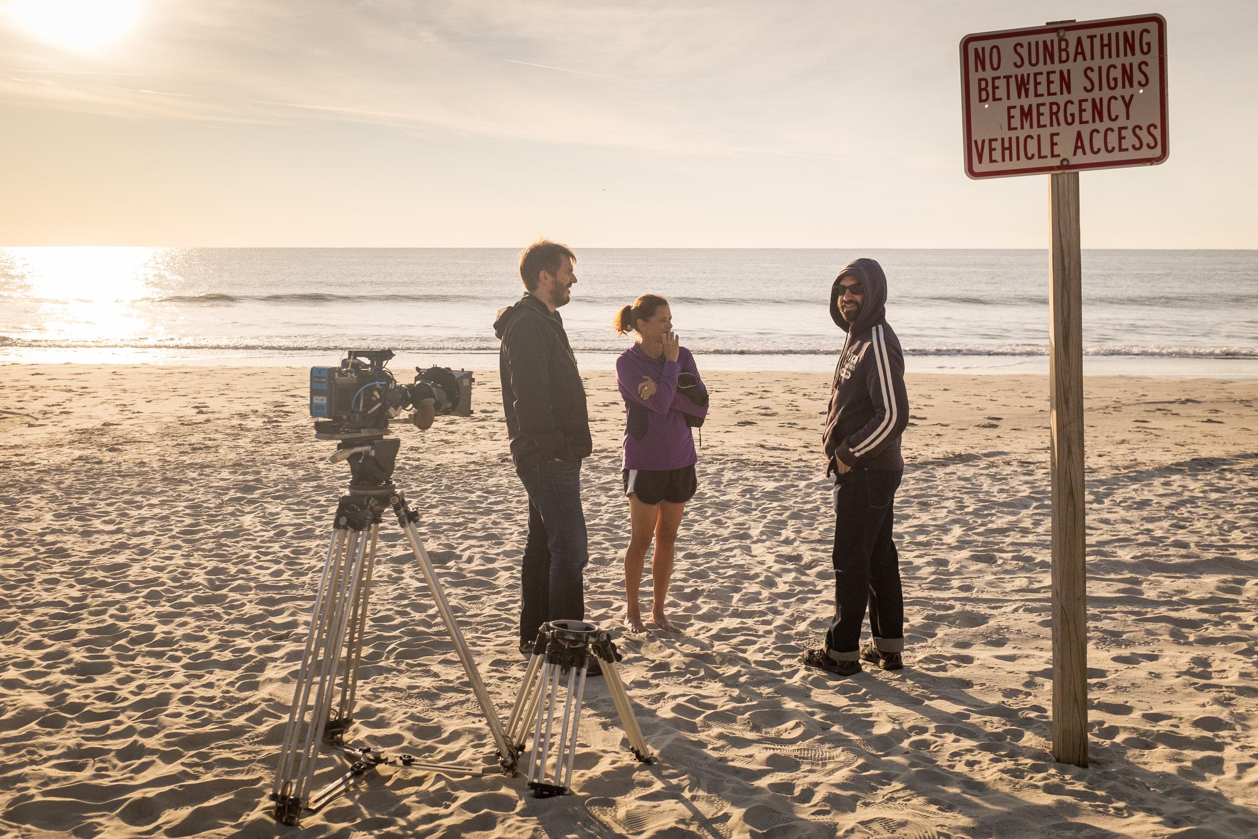 Zola Budd on beach with director Daniel Gordon and DOP Micael Timney.jpg