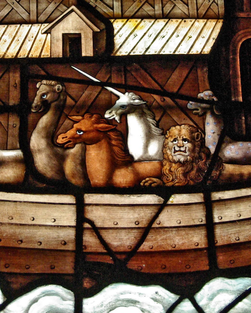 Like the smugly flatulent unicorn on the ark, photographers are an endangered species.    I'm going to call © Peter M. Ferenczi on this as a derivative work. If some undead medieval glass painter has a problem with that, step up, fool.