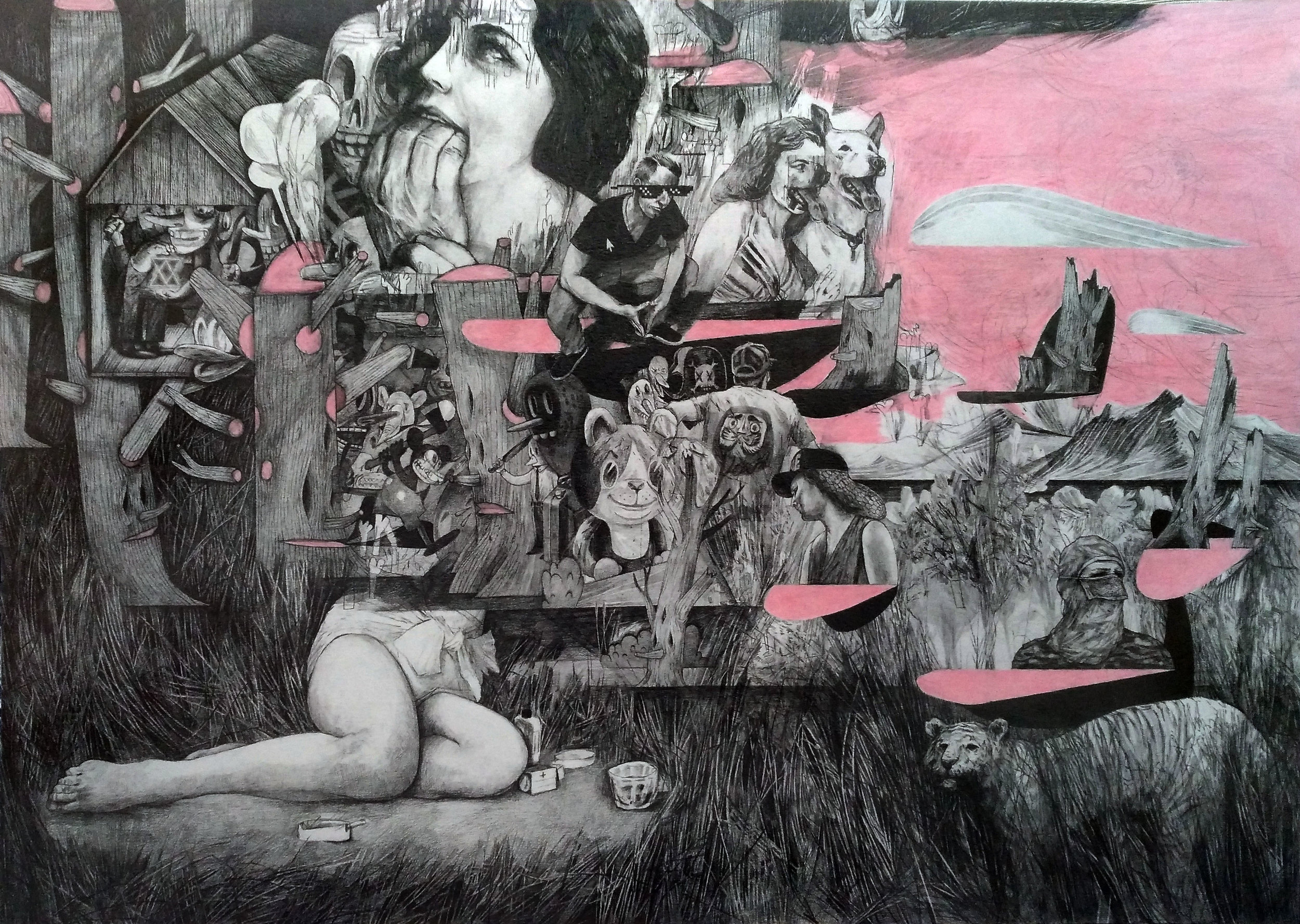 Ferngully Blues , 42 x 59cm, pencil on paper, 2017