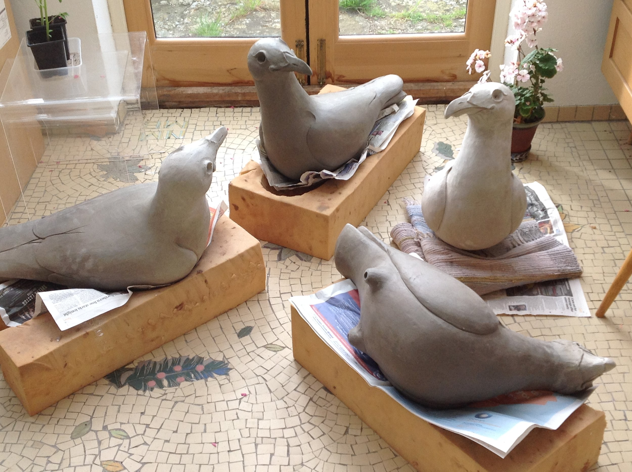 ceramic garden gulls outdoor