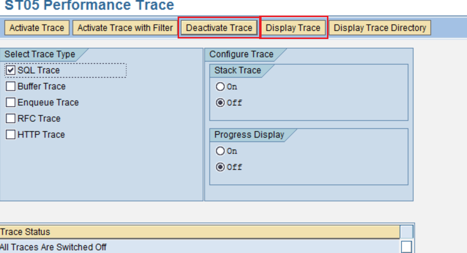 SAP Performance Trace