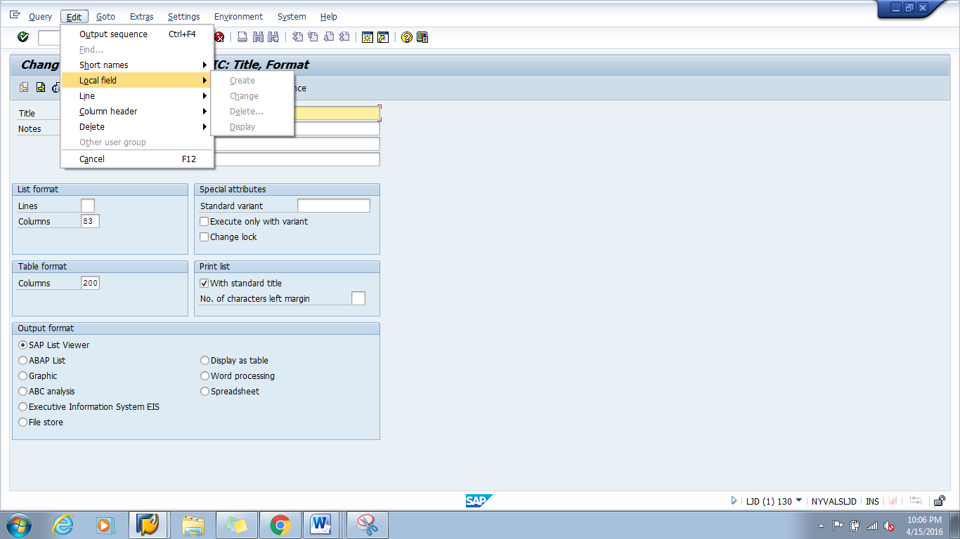 SAP Tips and Tricks - Local Fields in SAP Queries