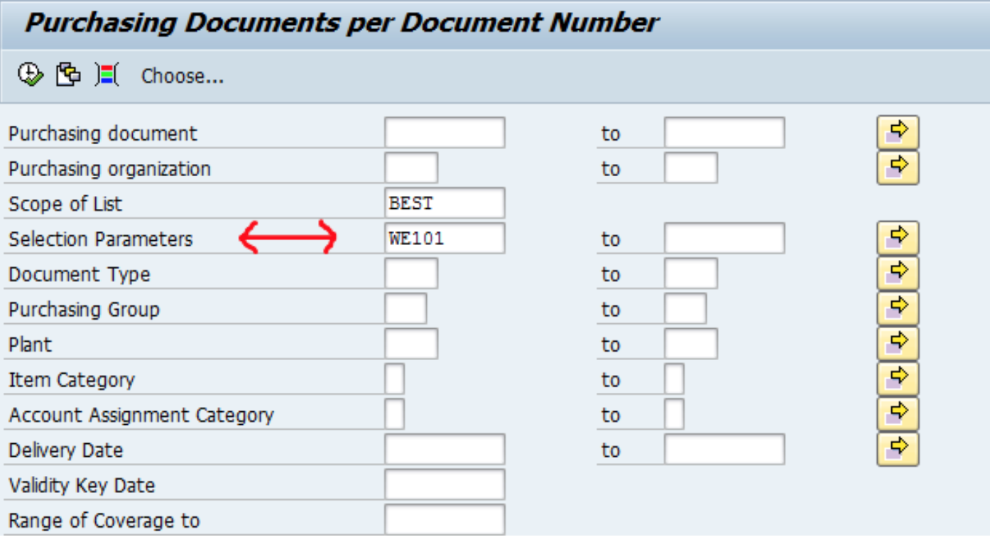 SAP Selection Parameters