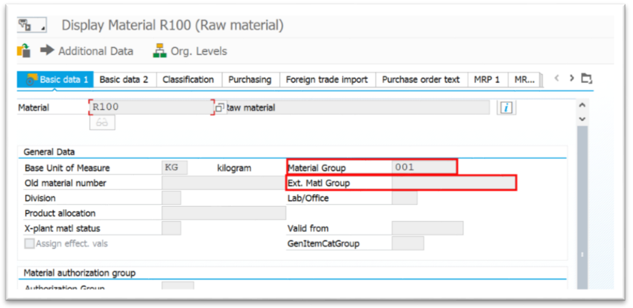 Figure 3. Material group and Ext. Material group that can be used to assign UNSPSC codes