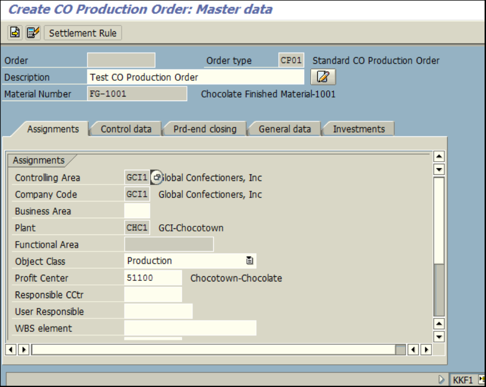 Figure 1.2 KKF1 – Create CO Production Order: Master data screen, Order text and Profit Center are entered.