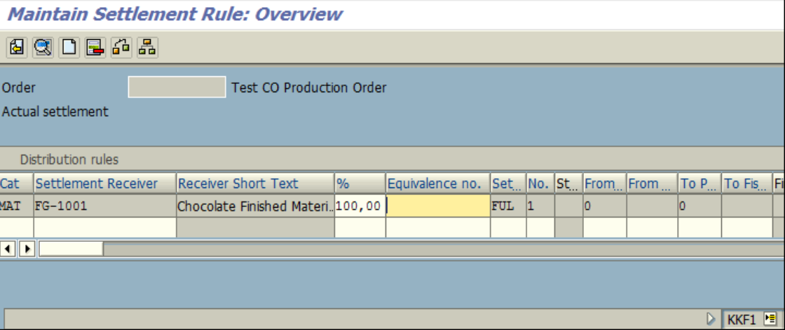 Figure 1.3 KKF1 – Create CO Production Order: Settlement Rule screen – Settlement to Material is defaulted.