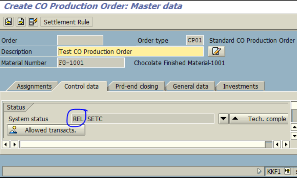 Figure 1.4 KKF1 – Create CO Production Order: Control data screen – Order is released automatically, based on setup in KOT2 for Order Type CP01.