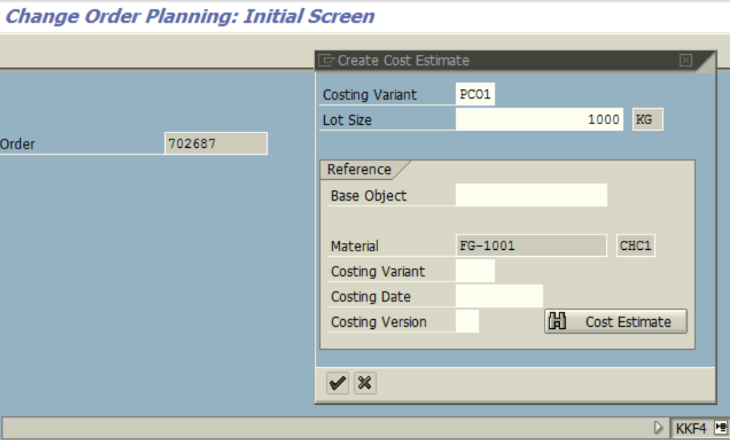 Figure 2.2 KKF4 – Order Planning screen, Costing Variant and Lot Size are entered for the given order 702687.