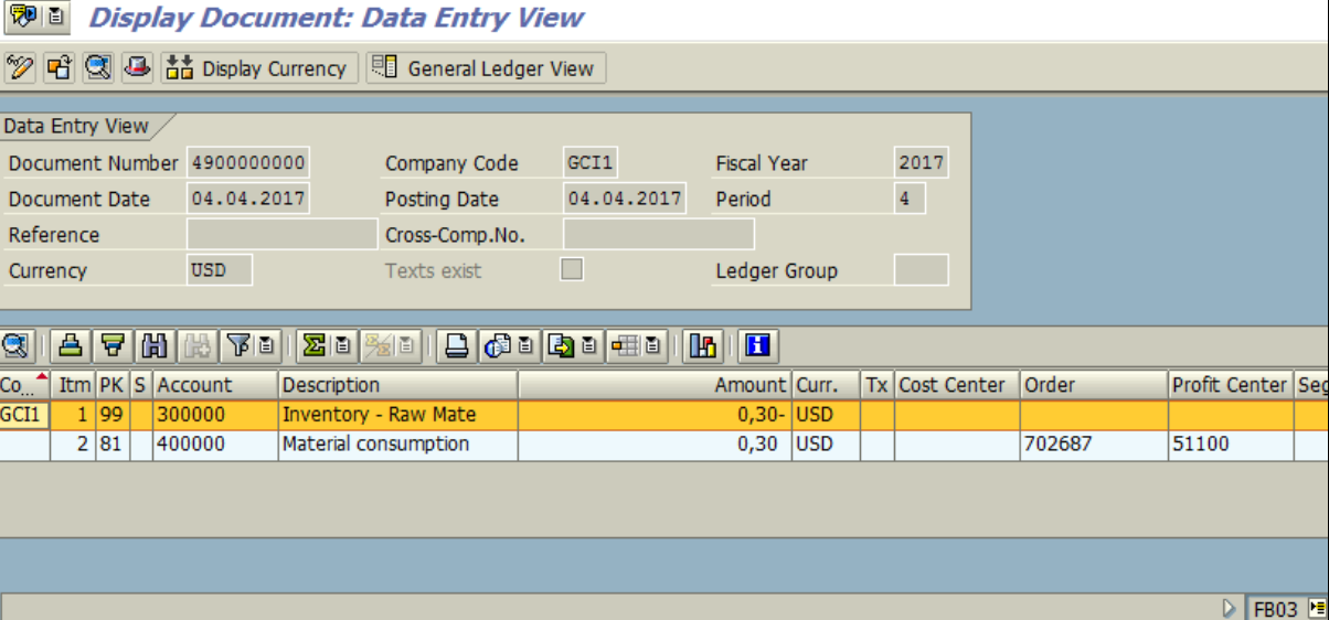Figure 3.5 FB03 – Financial Accounting Document for Goods Issue is displayed.