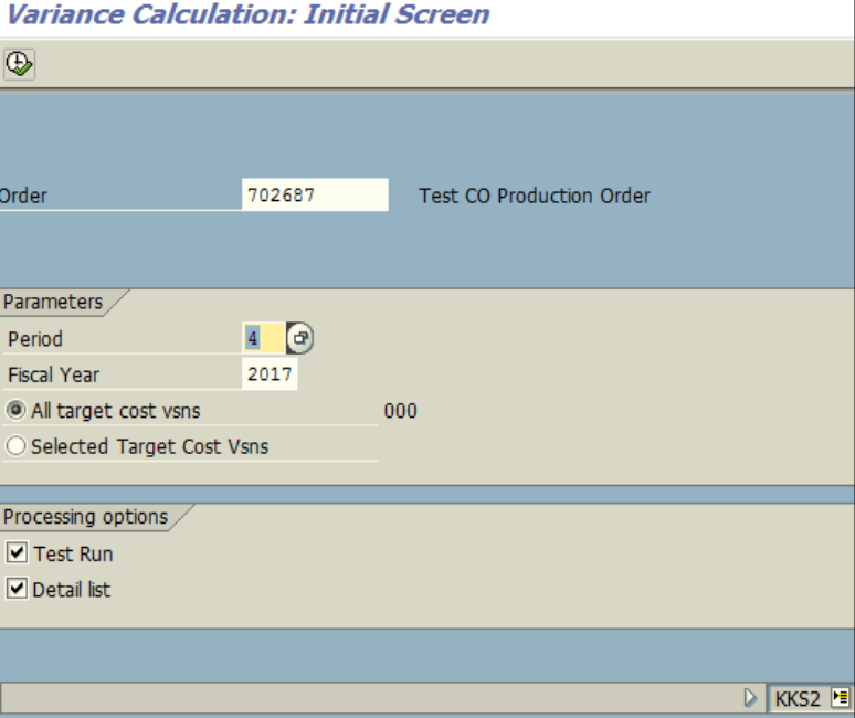 Figure 7.1 KKS2 – Variance calculation for order. Order, Year, Period are entered.
