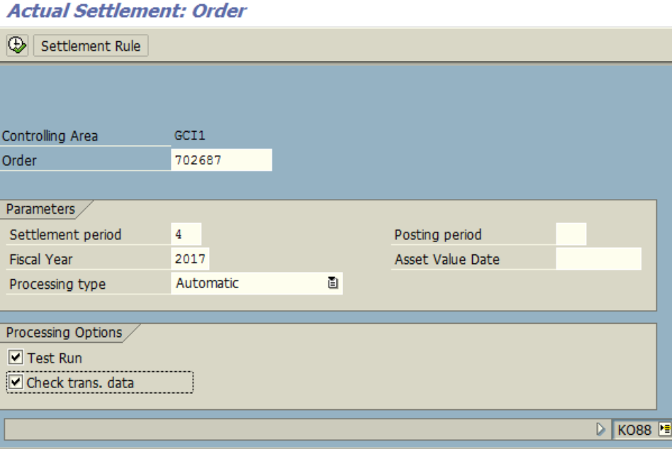 Figure 8.1 KO88 – Settlement for order. Order, Year, Period are entered