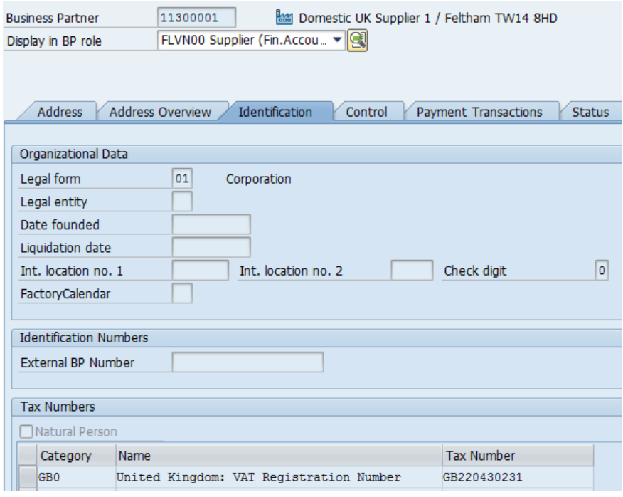 Figure 11 Business Partner Identification Tab