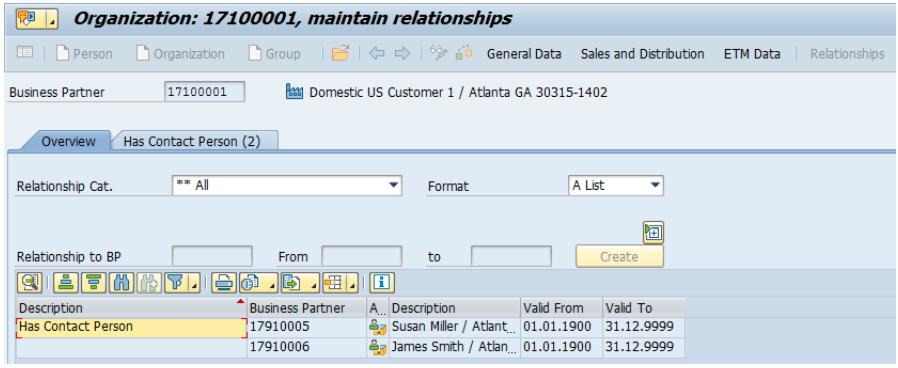 Figure 12 Business Partner Relationship contact example