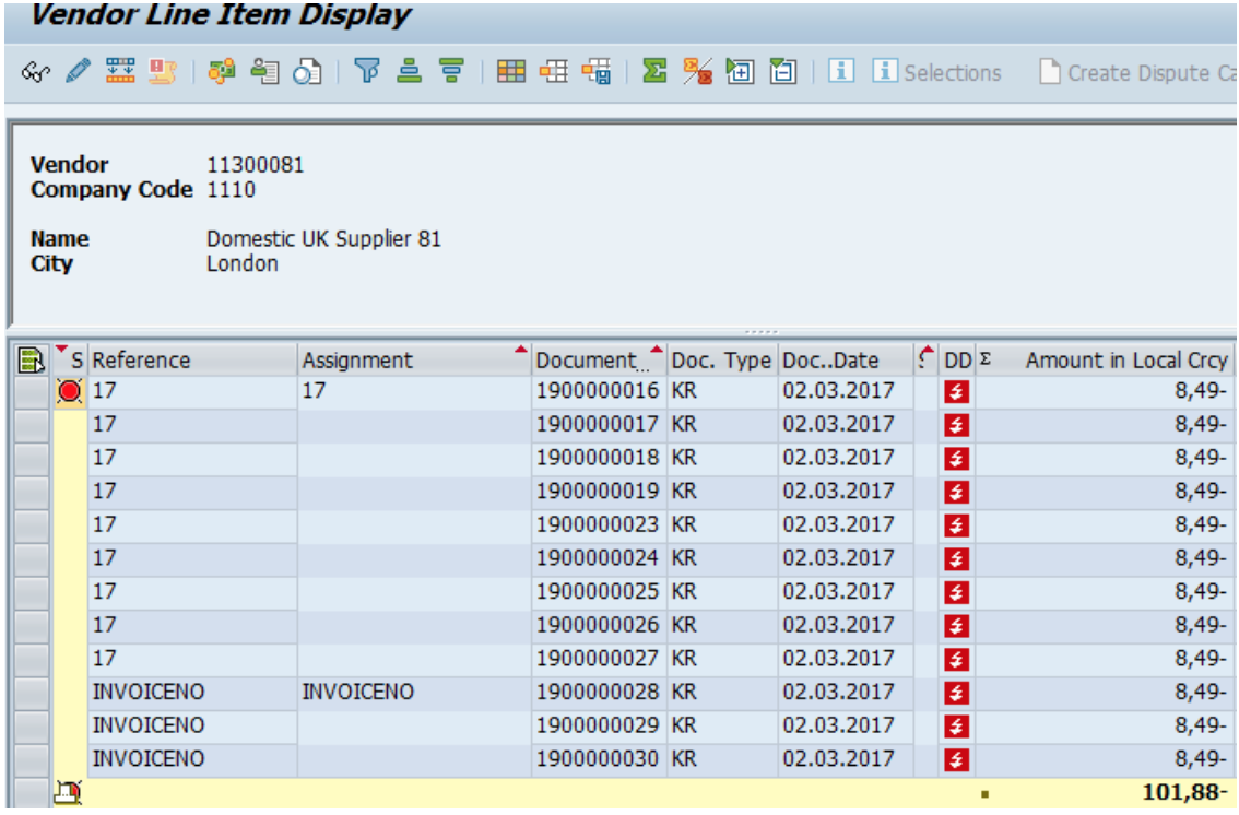 Figure 15 Vendor Line Item Display Called from FBL1H