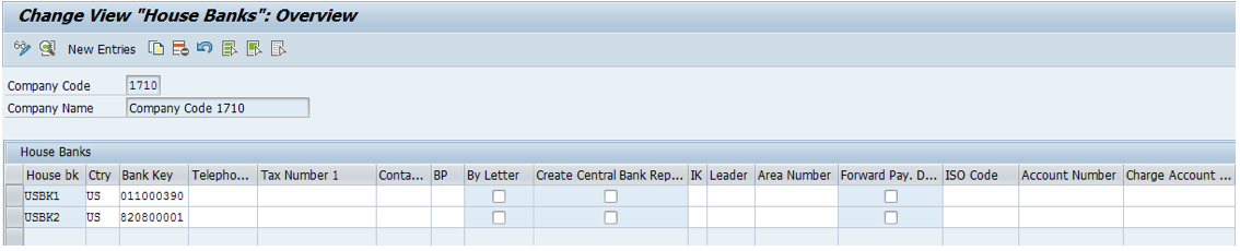 Figure 23FI12_HBANK - House Bank Transaction in SAP GUI