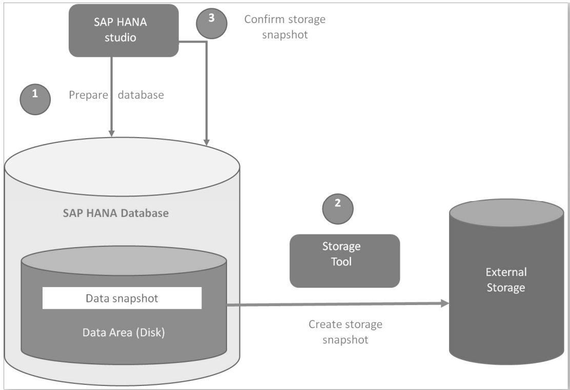 Figure 4.3: Steps for database aware snapshots