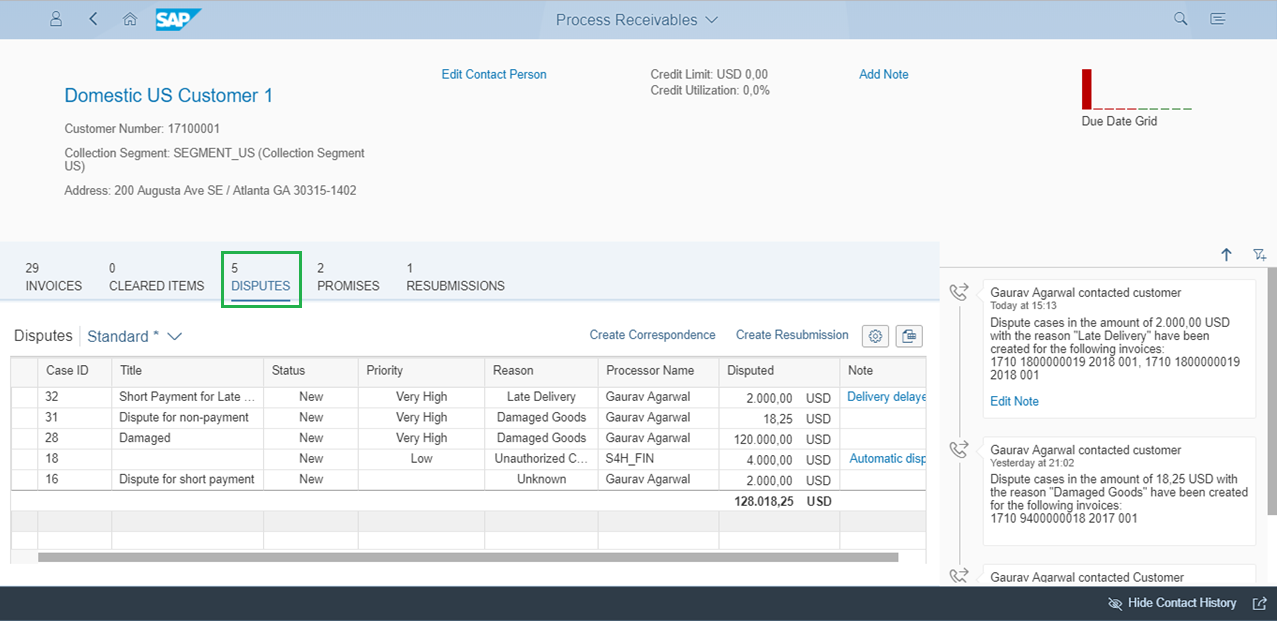 Figure 3:  Displaying dispute cases for the customer in Process Receivables app