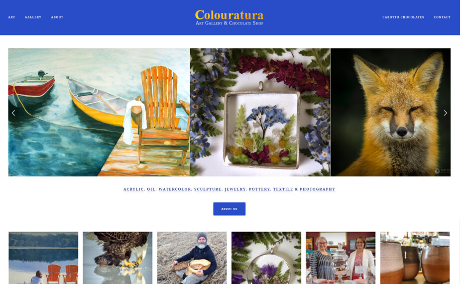 Website for Colouratura Gallery & Chocolate Shop