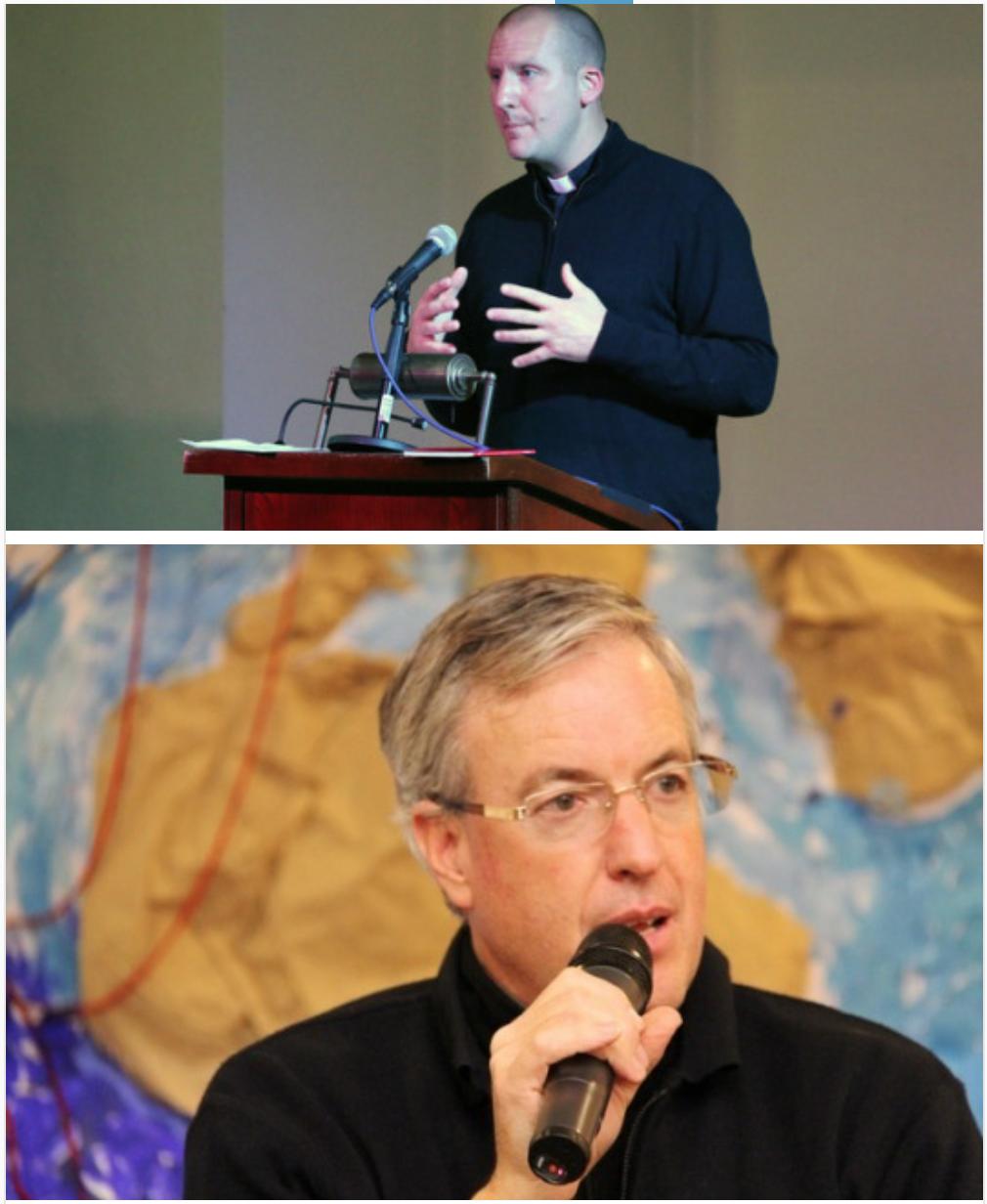 Top: Fr. Joe Freedy speaking at the 2017 Festival of Friendship Bottom: Fr. Vincent Nagle