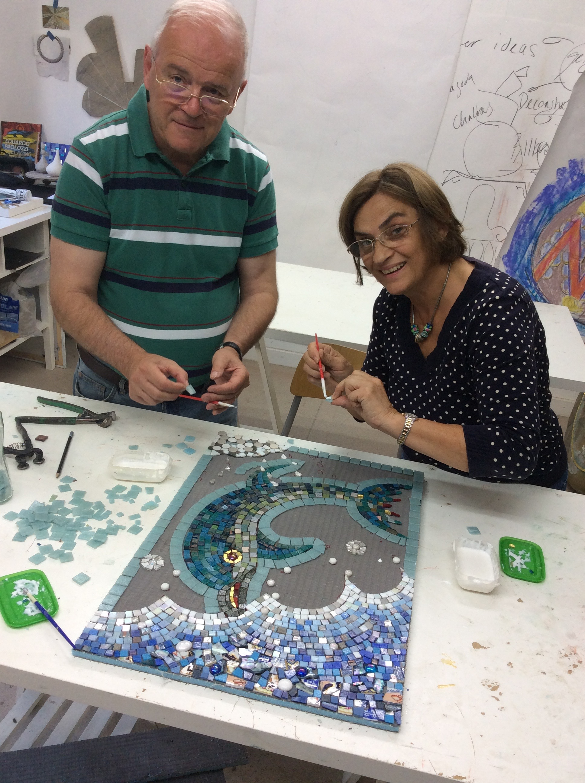 Elena & Chris took the famous 'Delos' dolphin image as their starting point to create this lovely panel for their bathroom. We worked together and created it in a day.