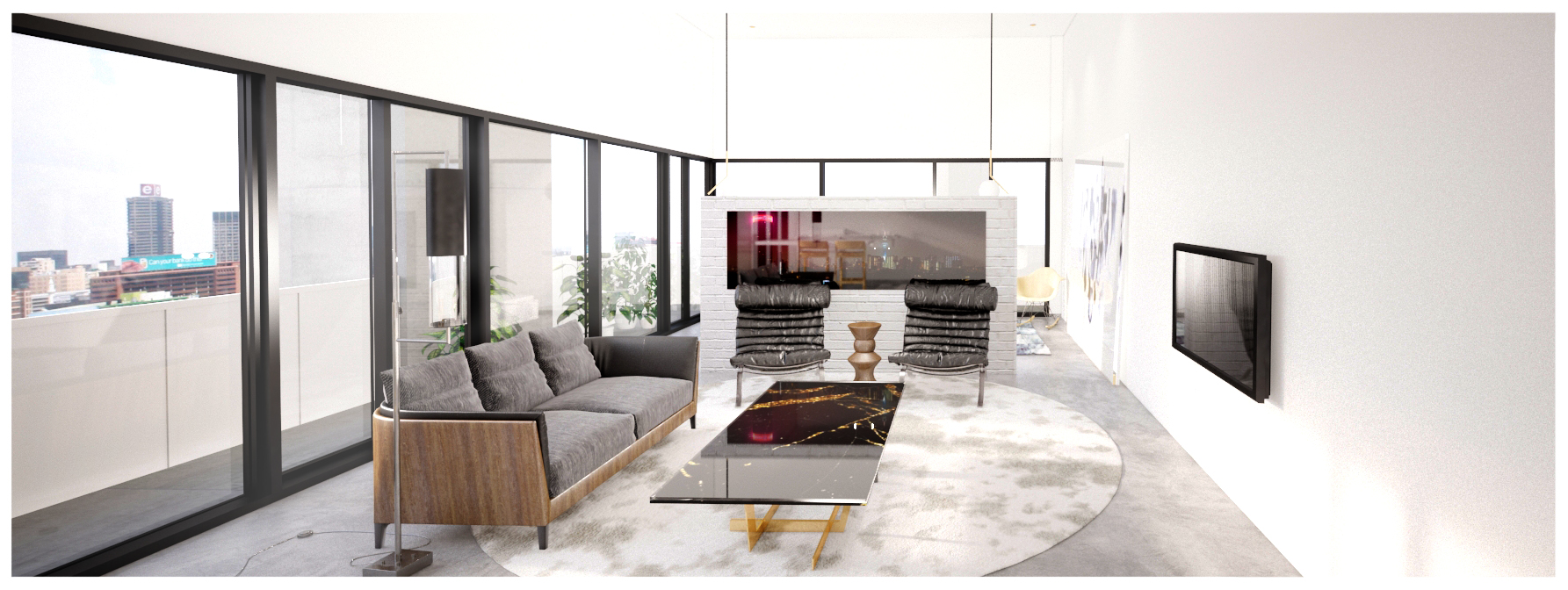 Interior render of corner apartment