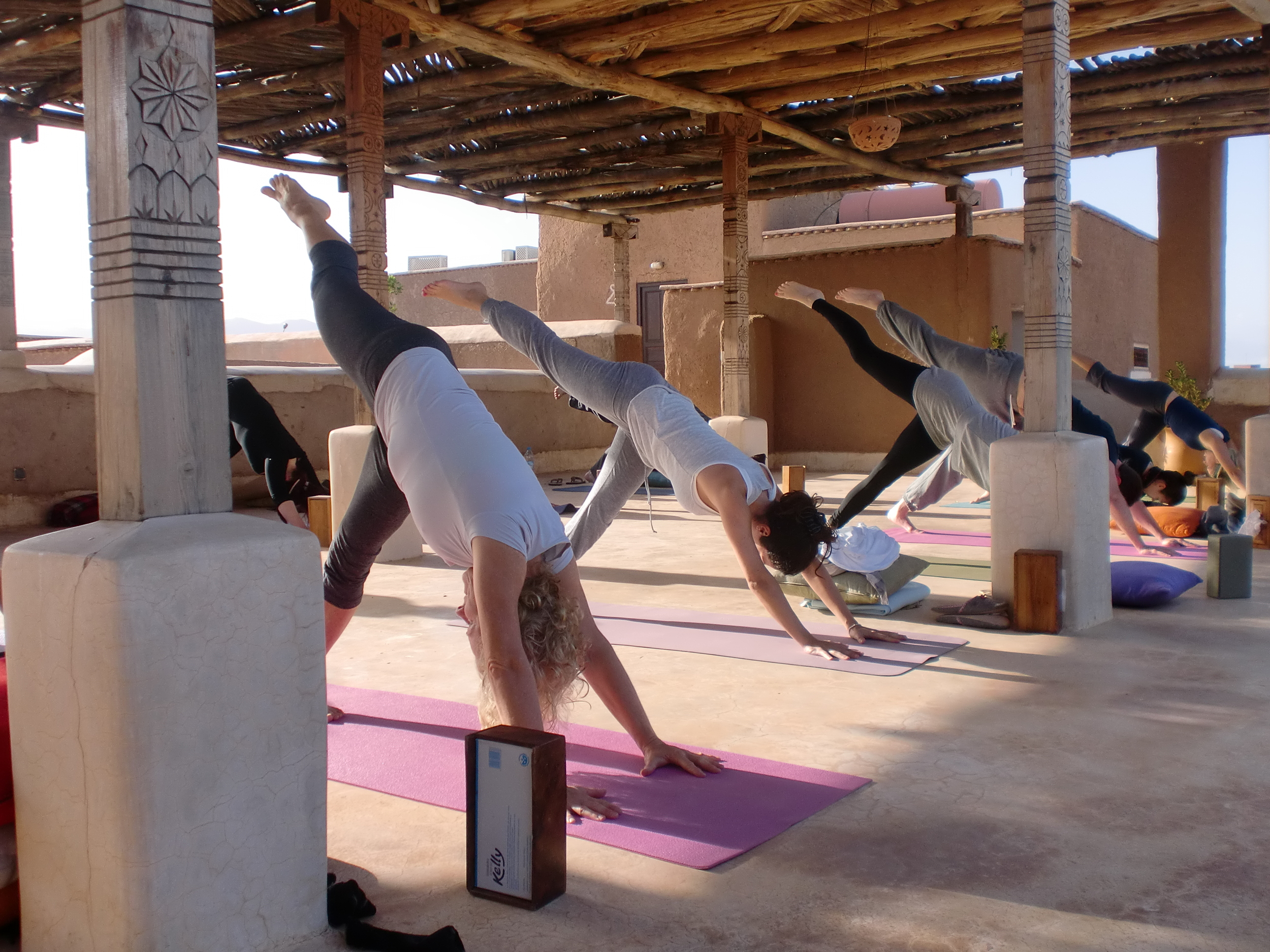 Yoga class at Marrakech retreat