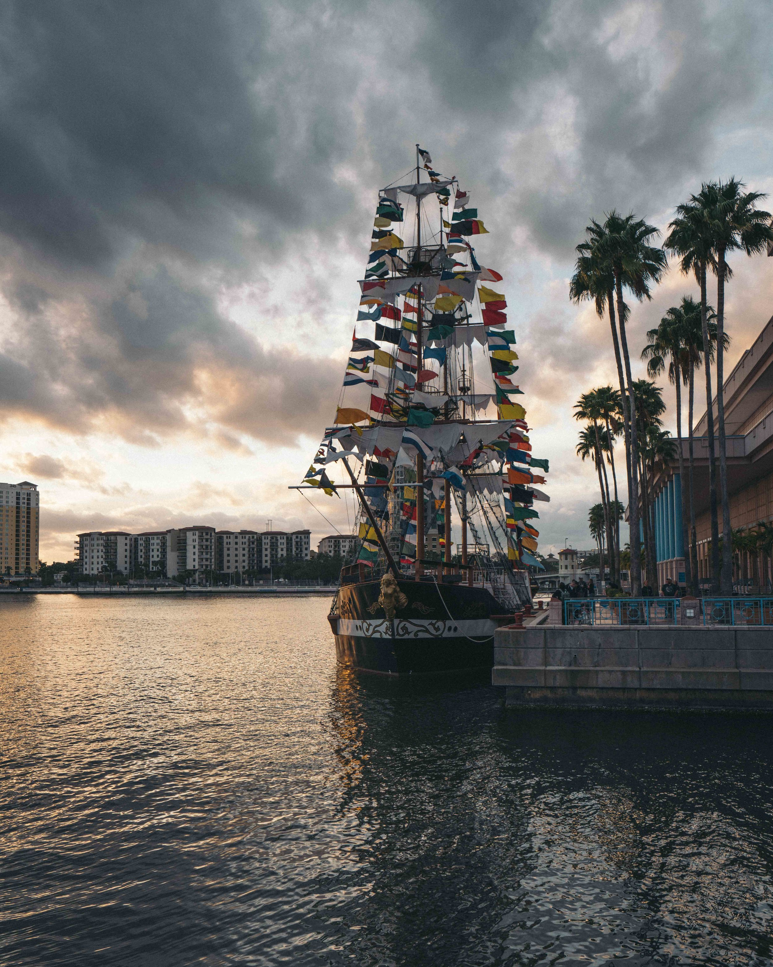 Docked pirate ship signals an end to this years Gasparilla festival.