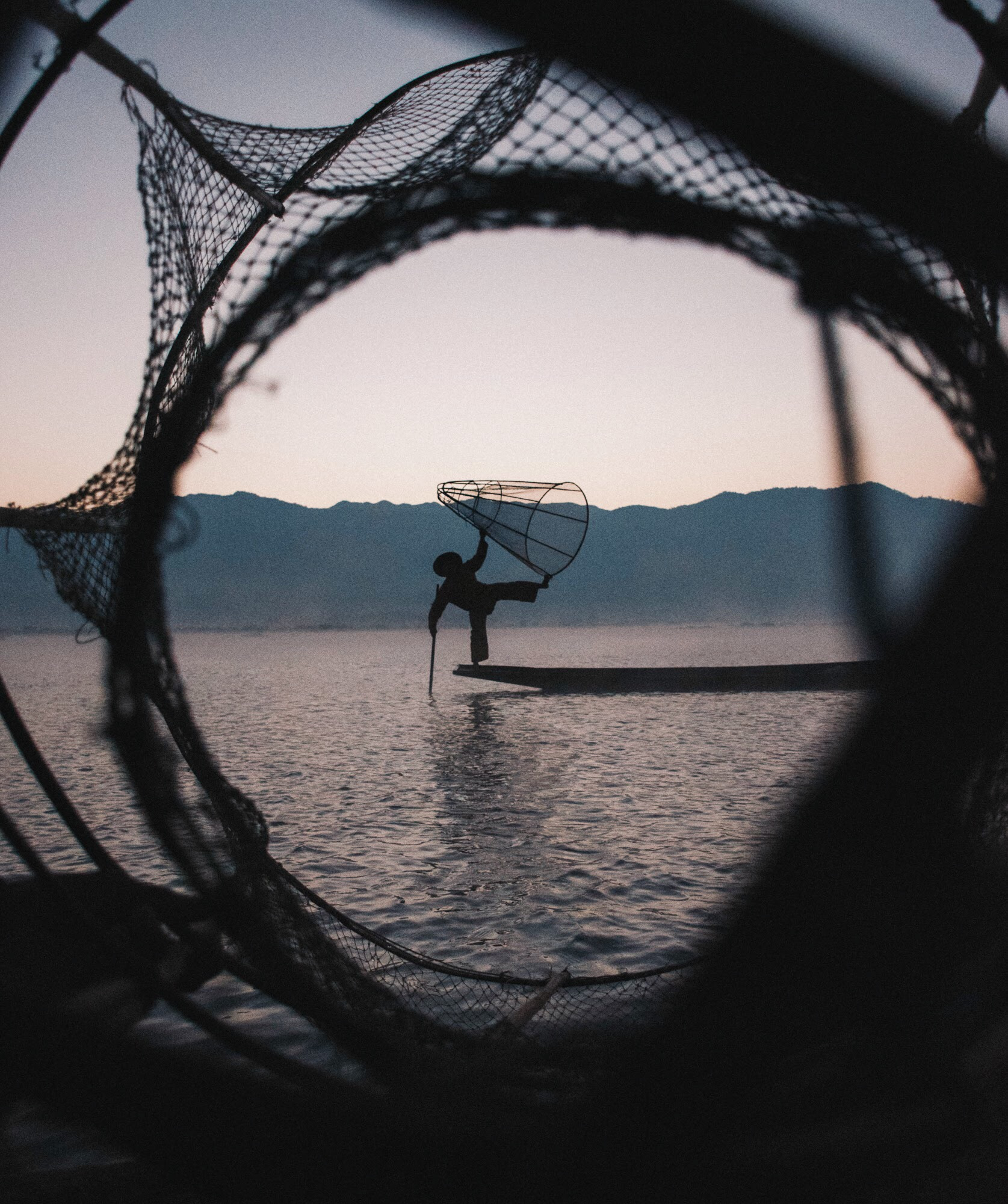 Inle Lake Fisherman Myanmar Sunrise