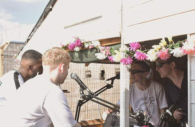Backstage at Lovebox yesterday with Nov and Mura. Big love to @reprezentradio. Picture by @finbar_marcel